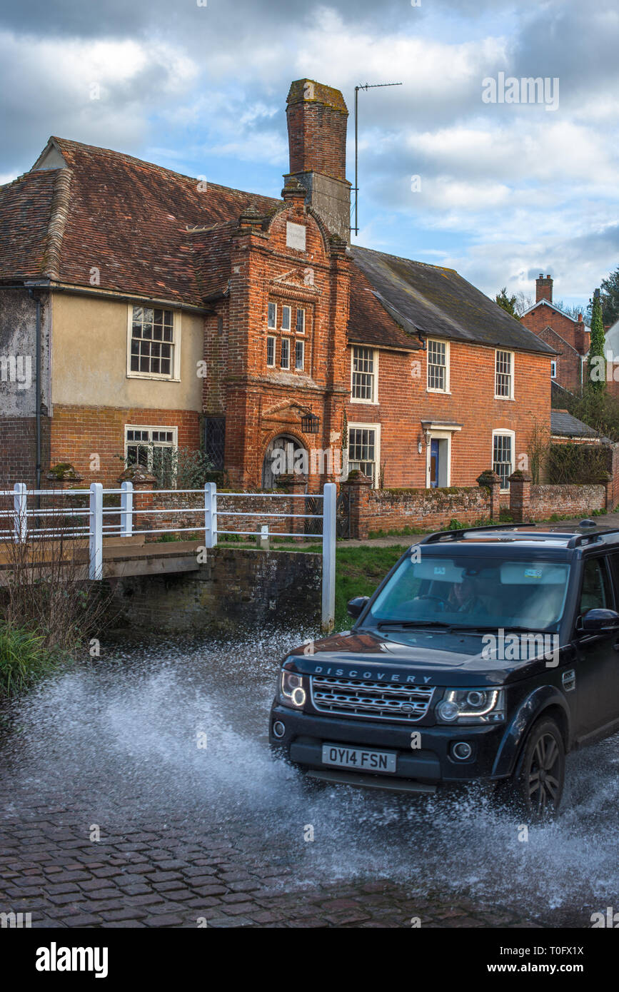 River Box Ford in front of Fifteenth century Ye Olde River House from 1490, in Kersey village, Suffolk, East Anglia, England, UK. - Stock Image