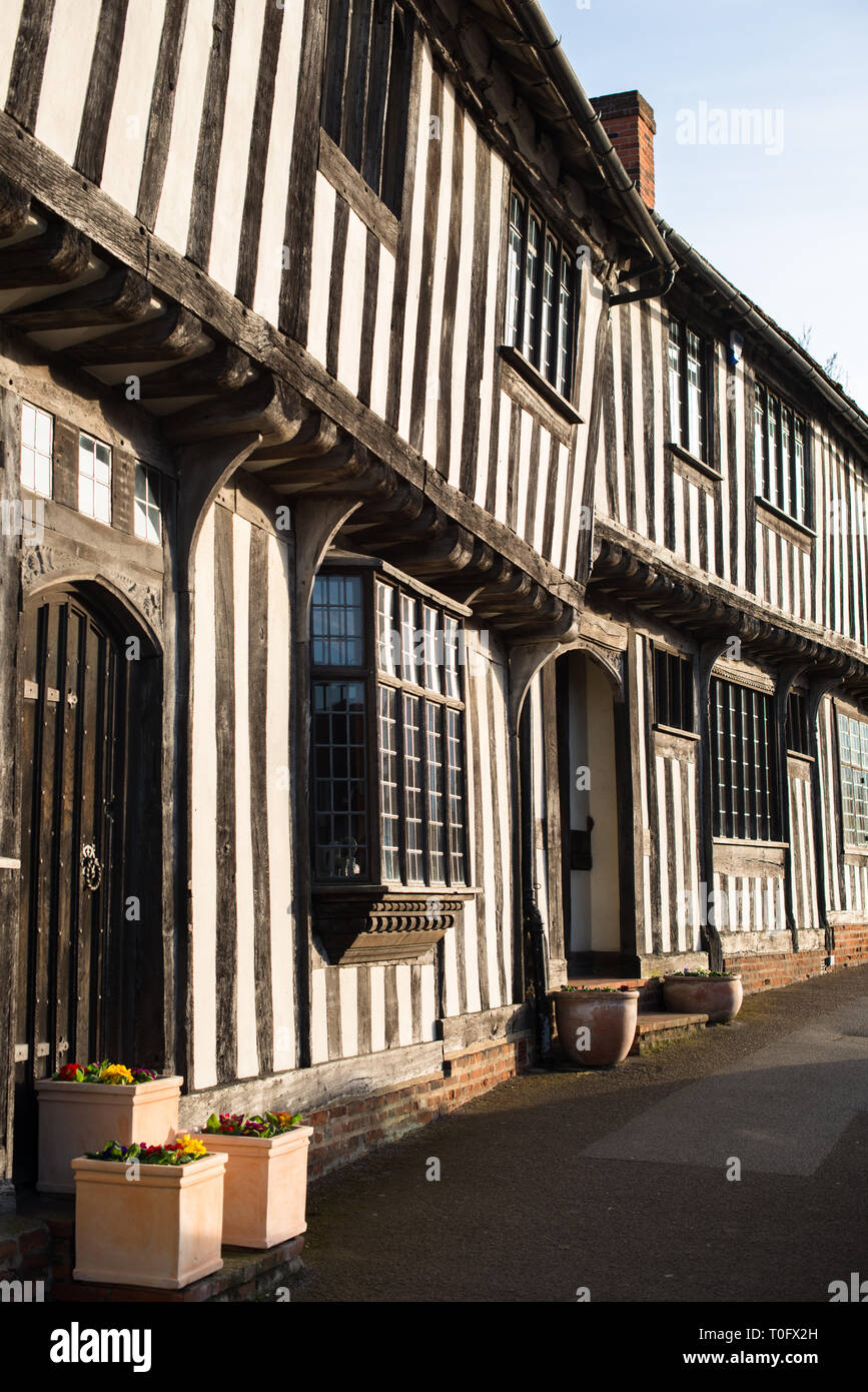Half-timbered medieval cottages, Lavenham, Suffolk, England, United Kingdom Stock Photo