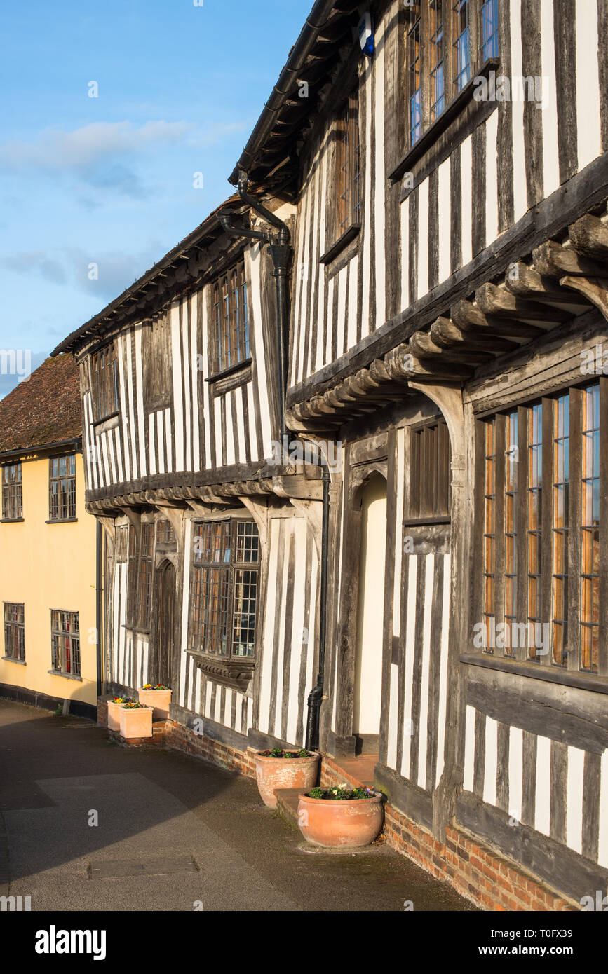 Half-timbered medieval cottages, Lavenham, Suffolk, England, United Kingdom Stock Photo