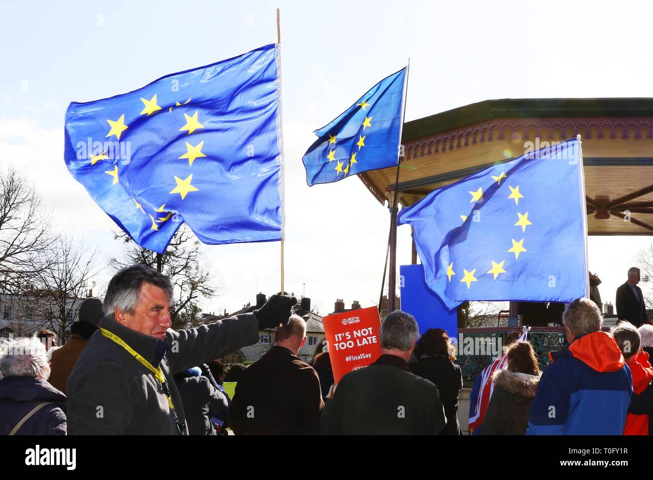 Anti Brexit rally in Cheltenham - Remainers chase masked Brexiteers through the town - 9.3.2019   Picture by Antony Thompson - Thousand Word Media, NO - Stock Image
