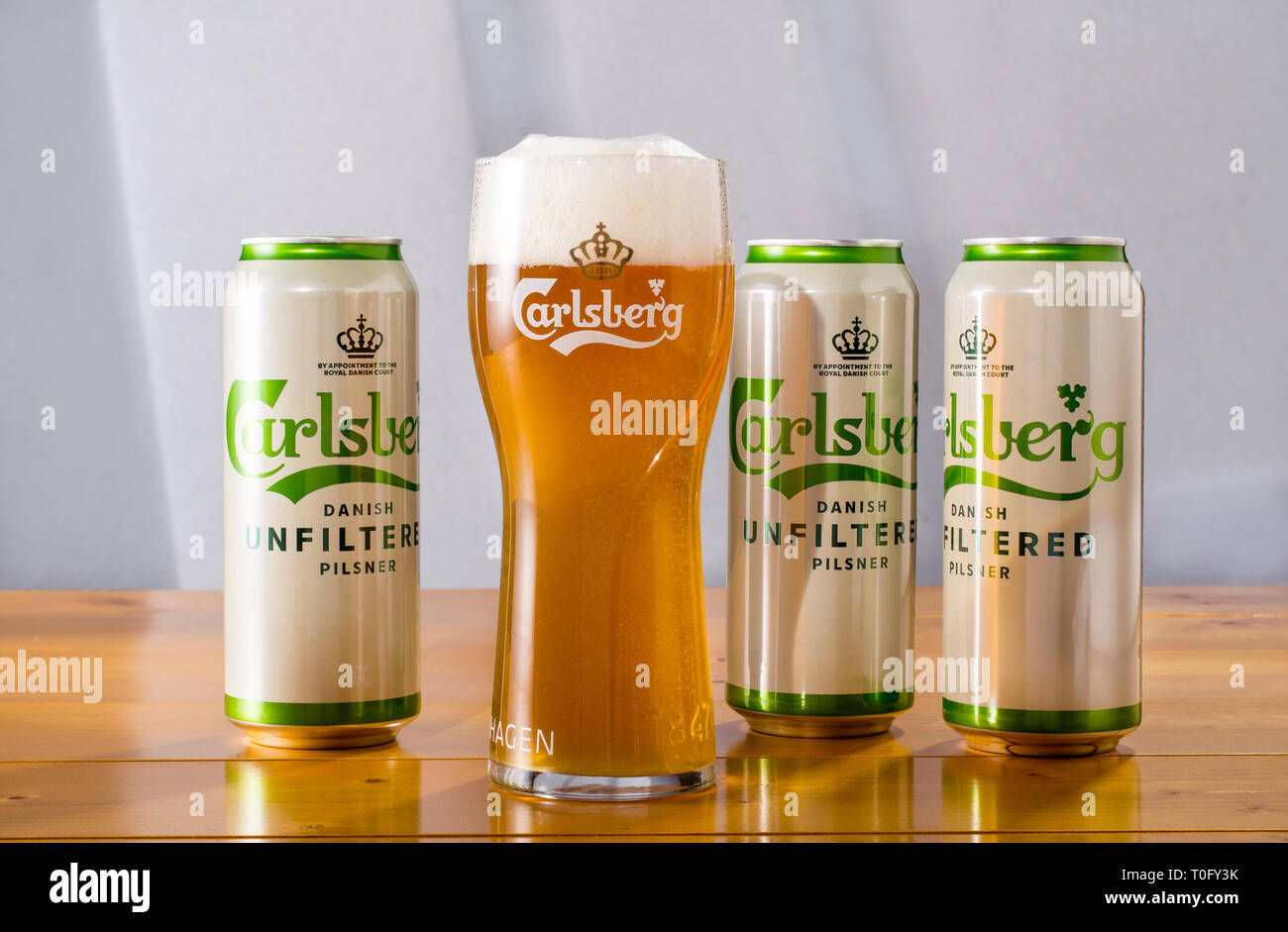 Carlsberg Unfiltered Pilsener beer in cans - Stock Image