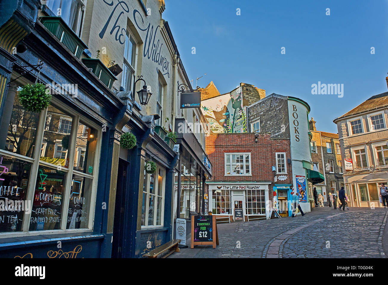 City centre street scene in Norwich Stock Photo