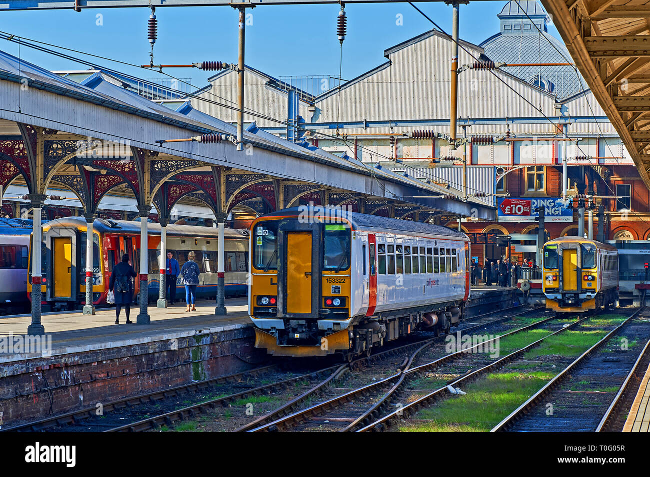 Passenger trains in the station at Norwich, Norfolk Stock Photo