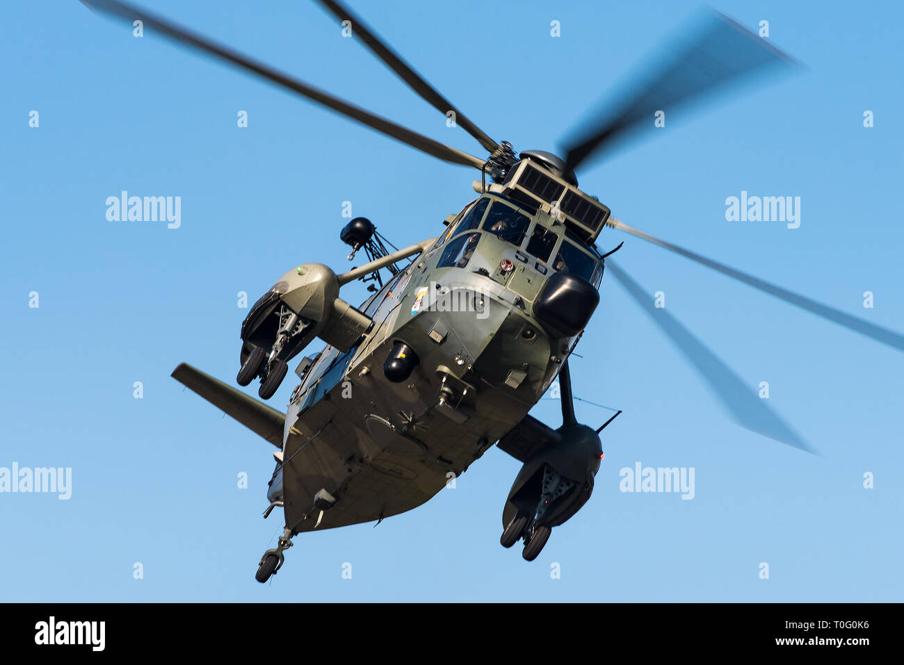 A Westland Sea King Mk.41 search and rescue helicopter from the Nordholz Naval Airbase of the German Navy. - Stock Image