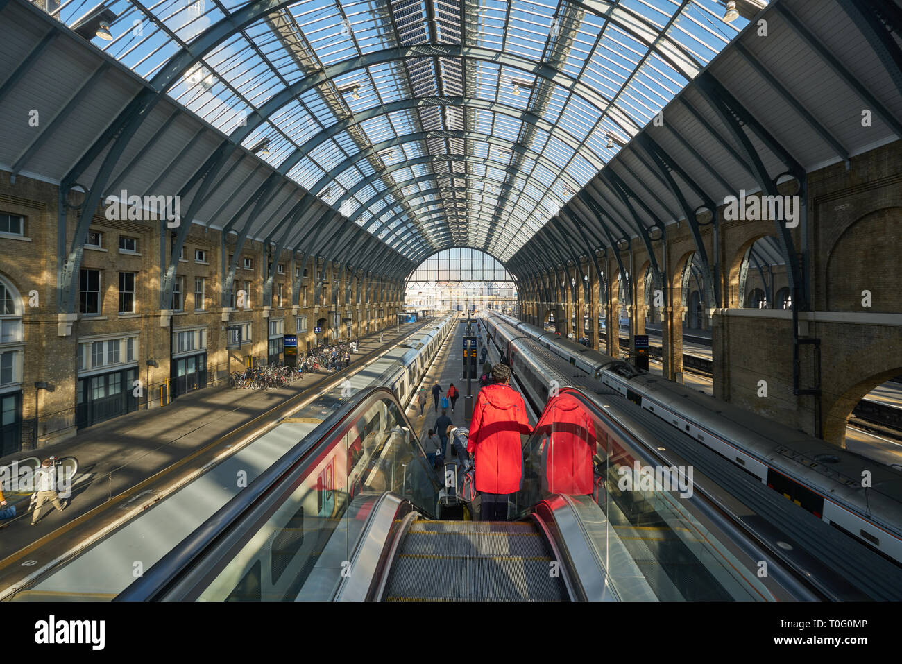 kings cross station escalators Stock Photo