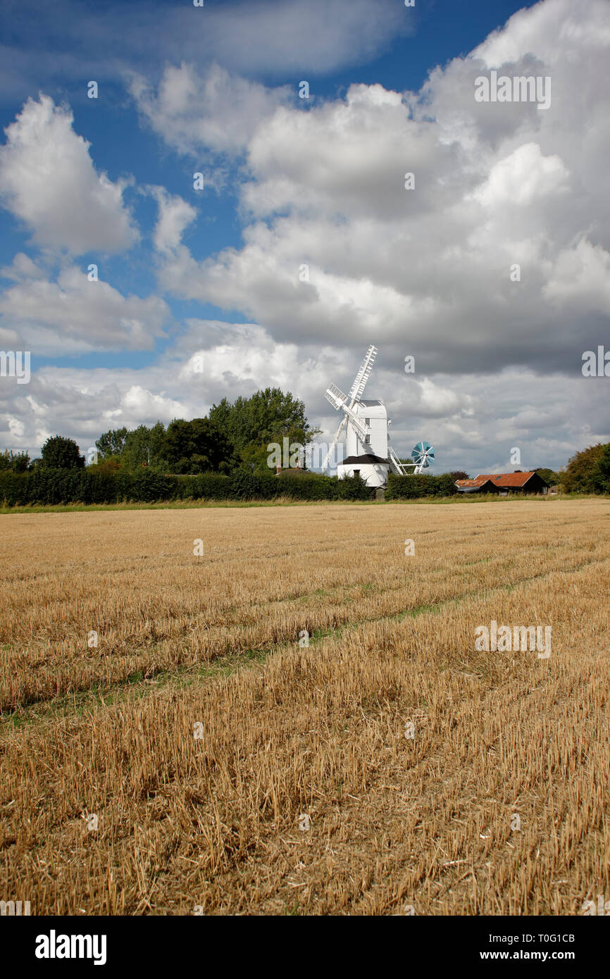 Saxtead Green Post Mill is a corn mill, it's body revolves on a post and was one of many built in Suffolk from the late 13th century. - Stock Image