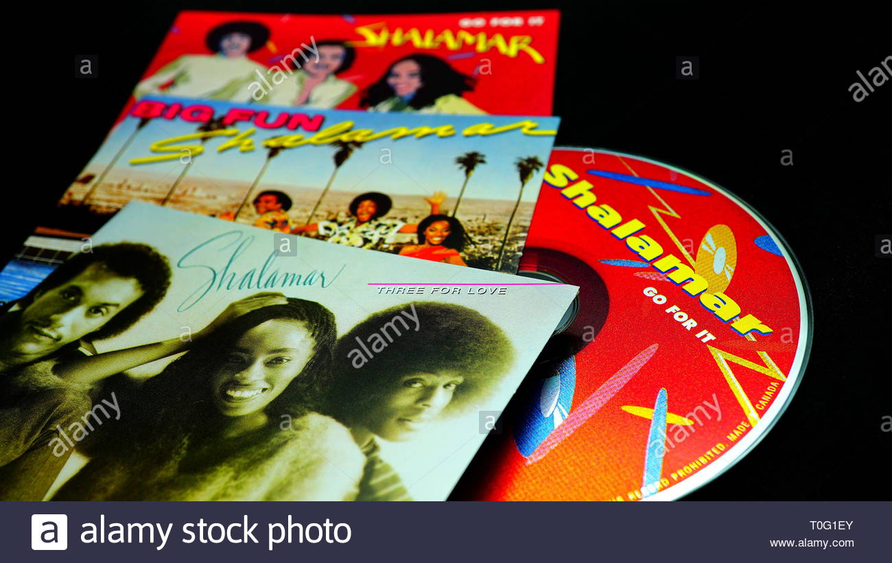 Rome, Italy - March 13, 2019: CDs and artwork of SHALAMAR  an