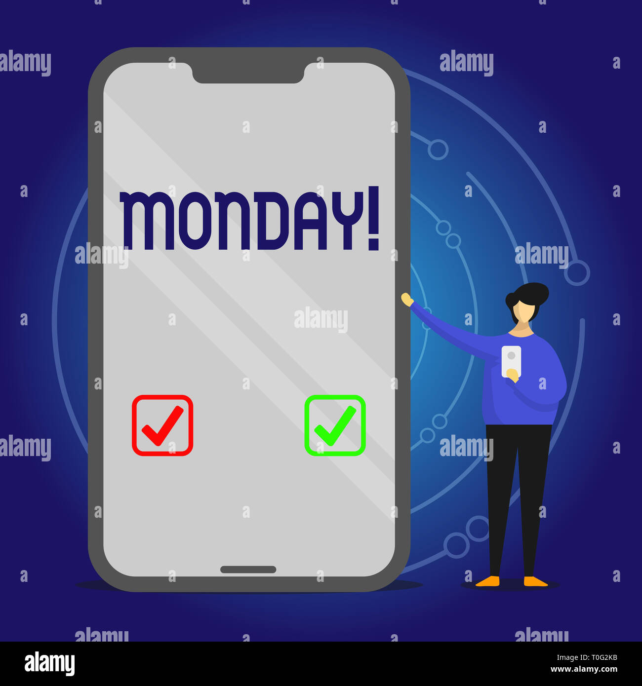 Writing note showing Monday. Business concept for First day of the week Back to work Weekend is over Wakeup Early Man Presenting Huge Smartphone while - Stock Image