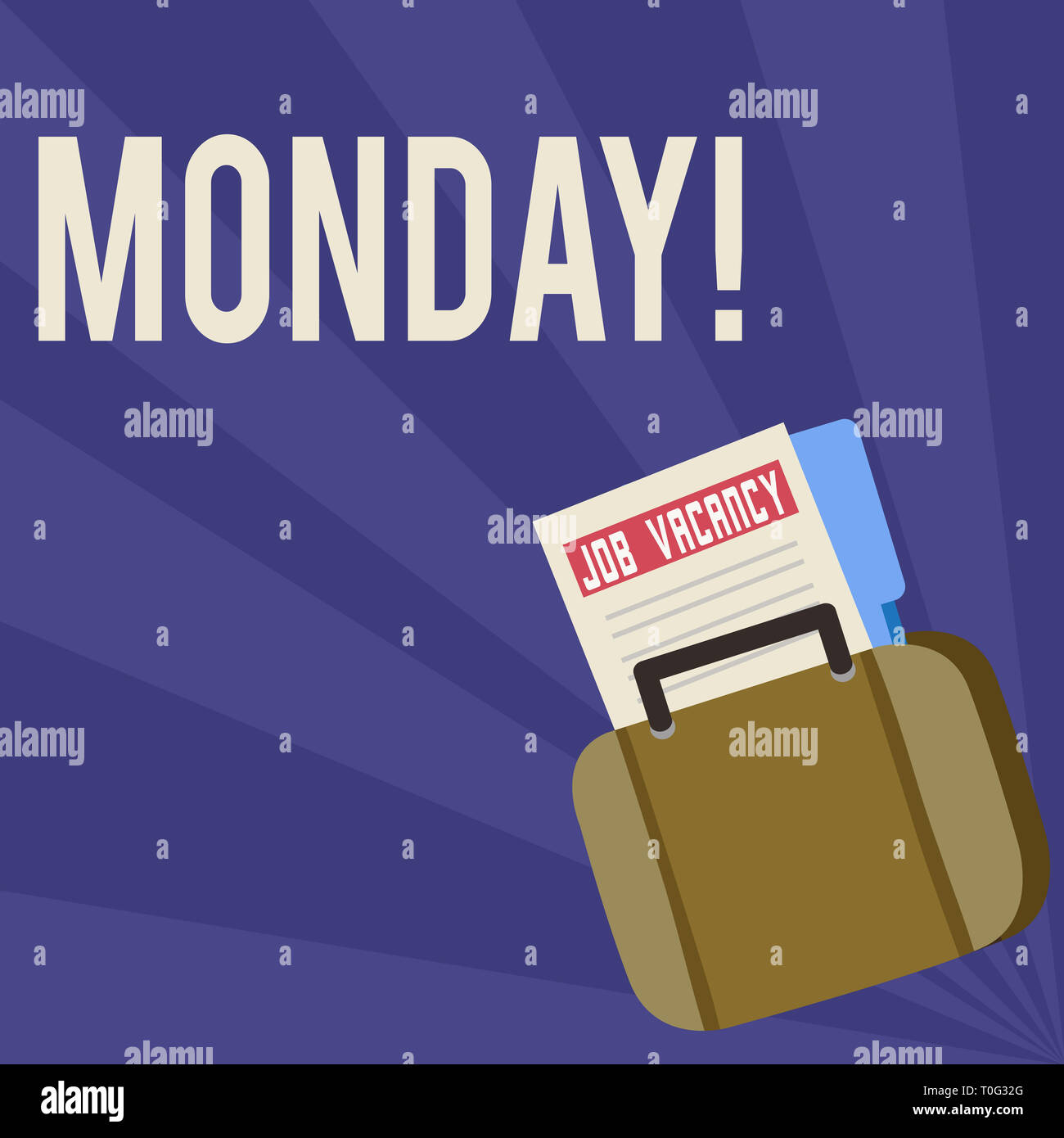 Handwriting text Monday. Conceptual photo First day of the week Back to work Weekend is over Wakeup Early Announcement File Folder for Employment Oppo - Stock Image