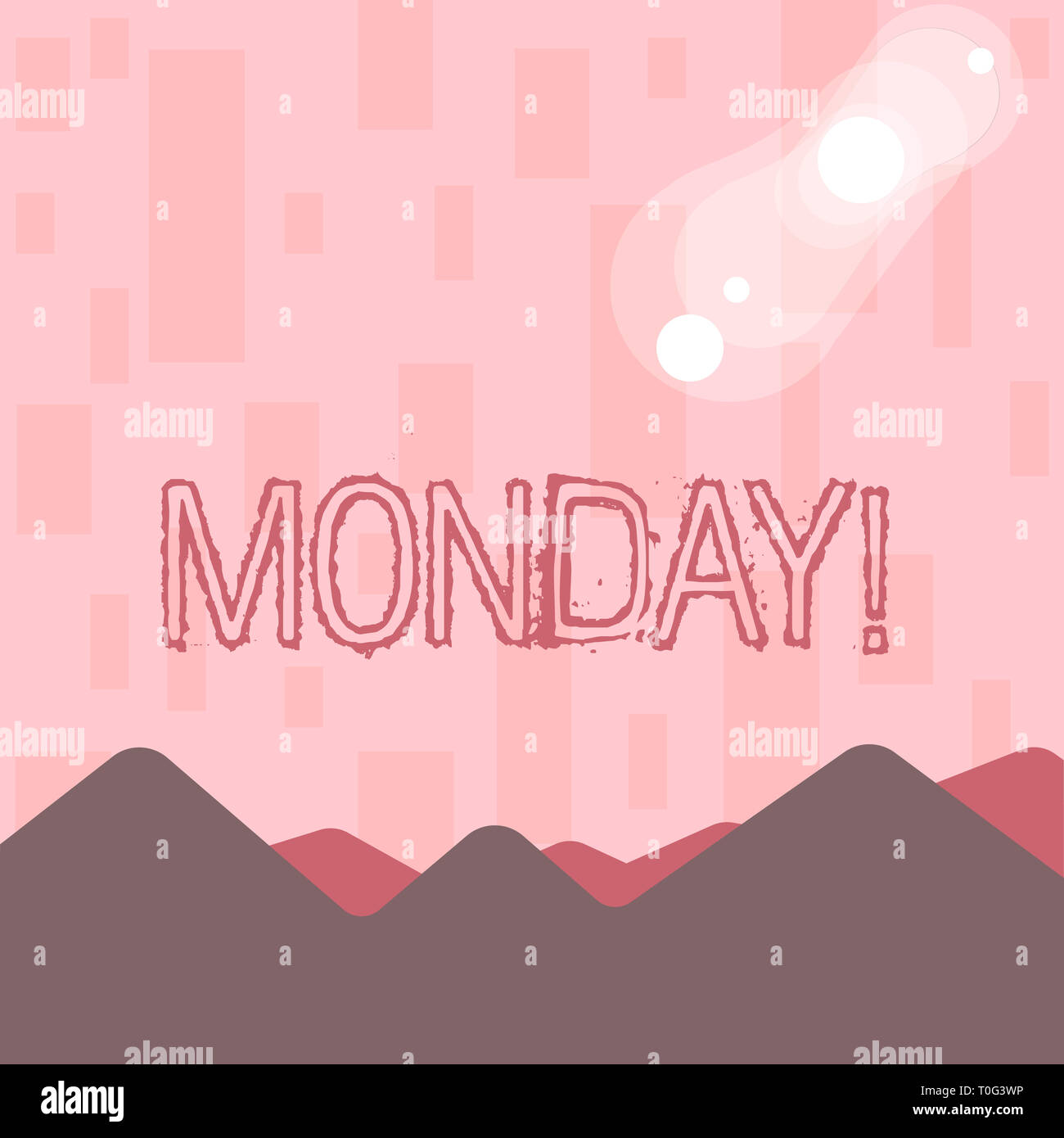 Writing note showing Monday. Business concept for First day of the week Back to work Weekend is over Wakeup Early View of Colorful Mountains and Hills - Stock Image