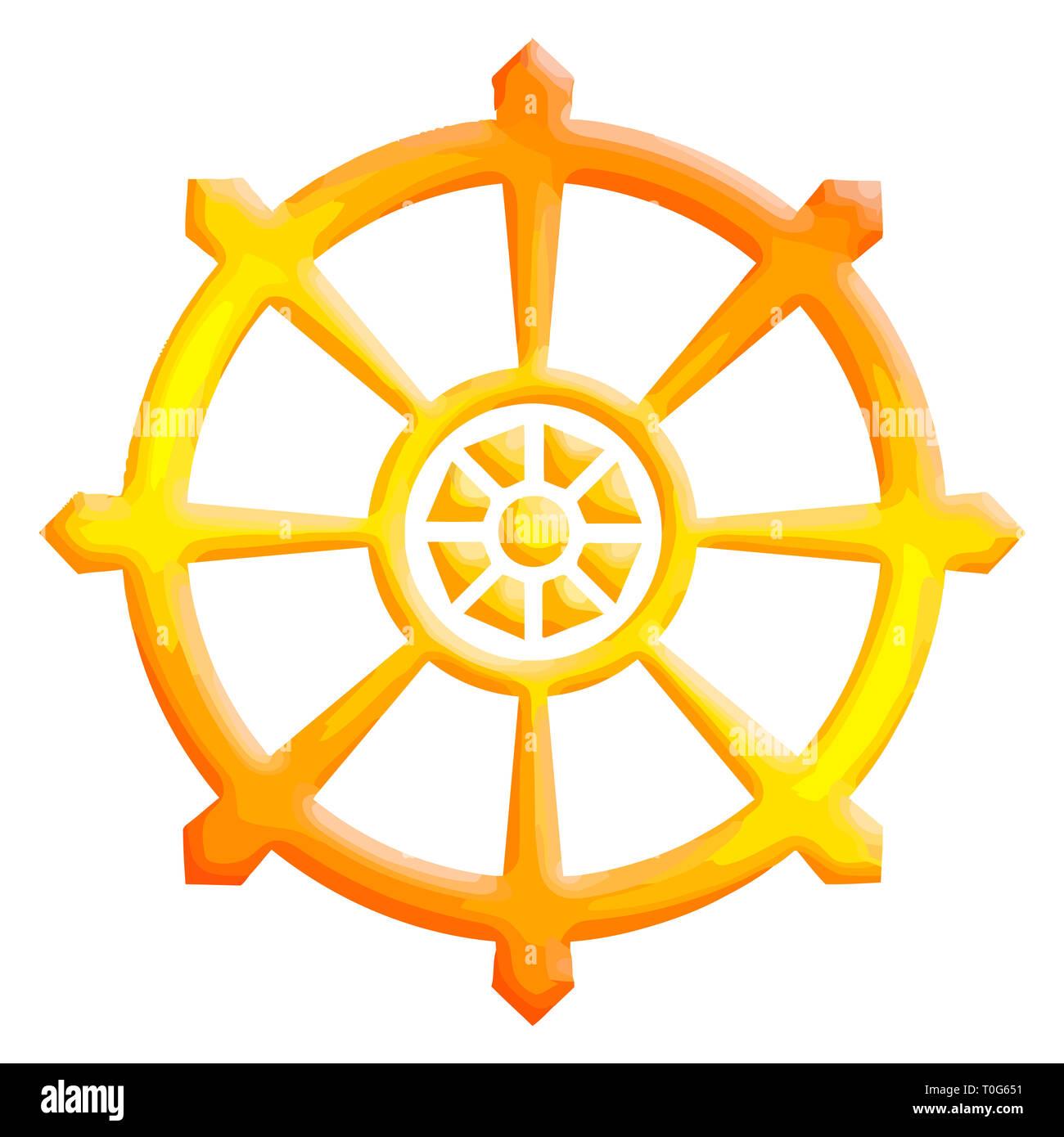 chakra buddhism wheel of dharma yellow illustration - Stock Image
