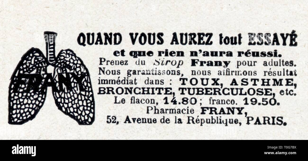 publicité ancienne.sirop frany.1 mars 1930 Stock Photo