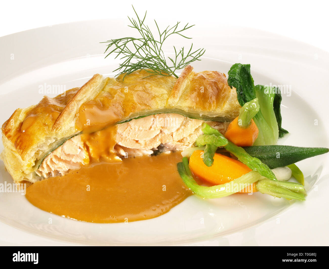 Salmon Fish Fillet in Puff Pastry Stock Photo