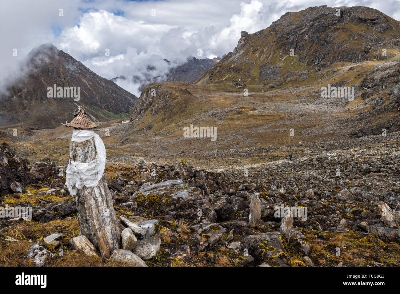 Layap hat at Tsemo La pass, Gasa District, Snowman Trek, Bhutan - Stock Image