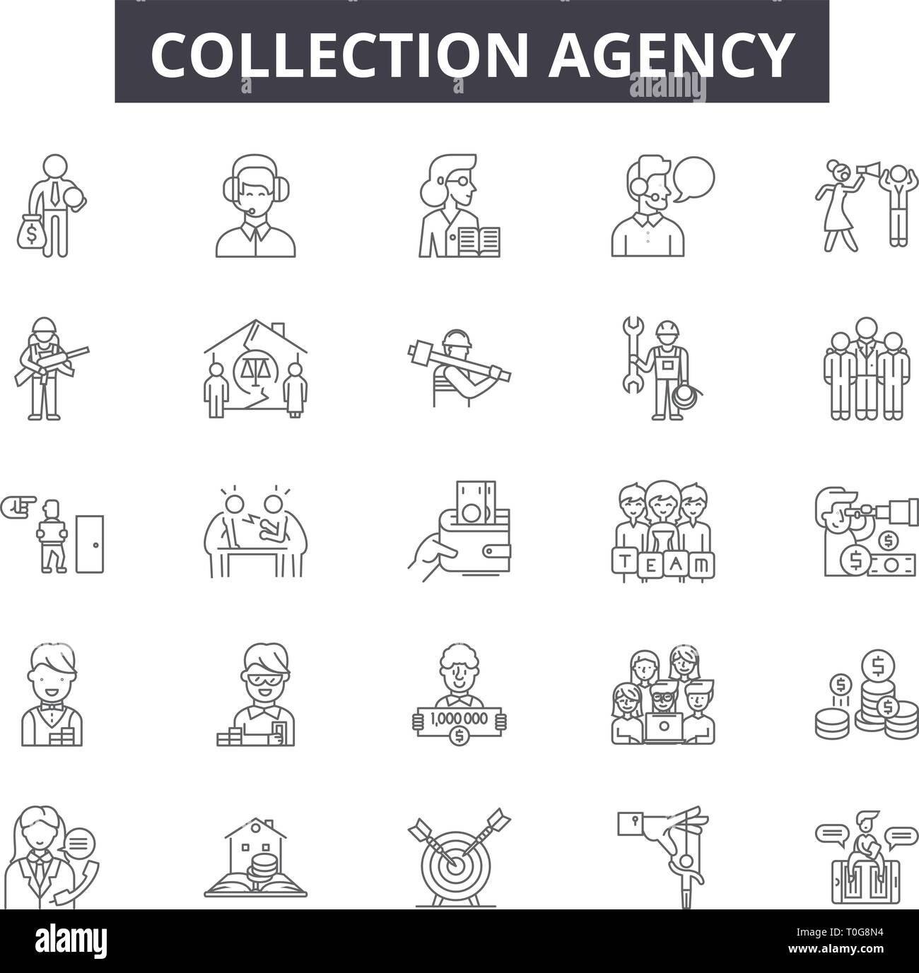 Collection agency line icons for web and mobile design. Editable stroke signs. Collection agency  outline concept illustrations - Stock Image