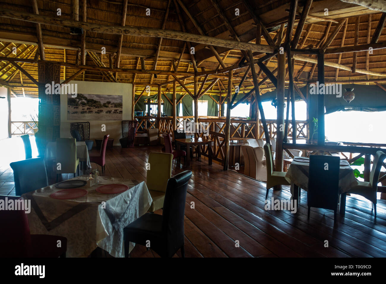 Interior of Crater Safari Lodge located close to Kibale Forest National Park in South West Uganda, East Africa Stock Photo