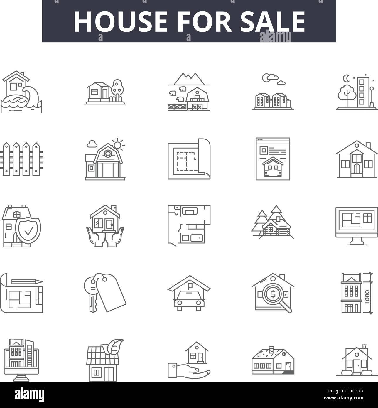 House for sale line icons for web and mobile. Editable stroke signs. House for sale outline concept illustrations - Stock Vector