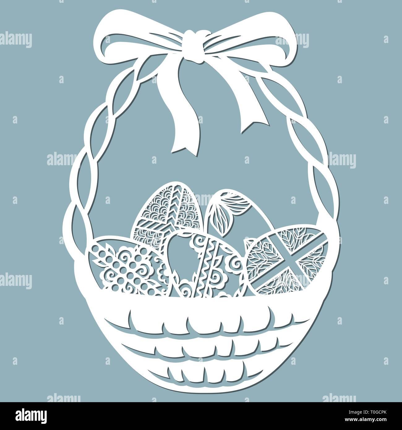 Bow Basket Cross Leaves Flowers Carved In Egg Vector