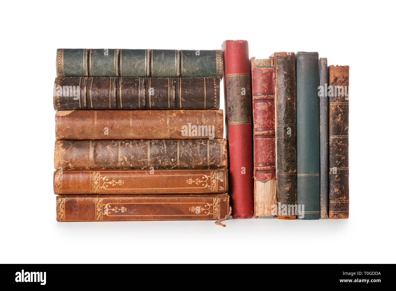 Group of old books isolated on white, clipping path included - Stock Image