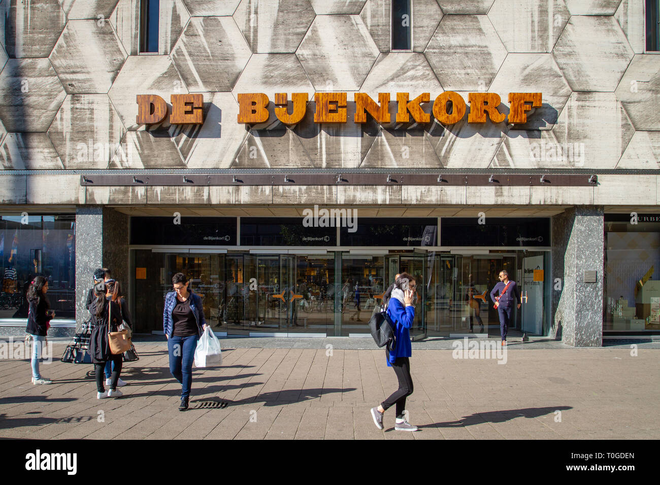 Rotterdam, Netherlands - September 11, 2015: De Bijenkorf department store in Rotterdam designed by Marcel Breuer. De Bijenkorf is a Dutch chain. - Stock Image