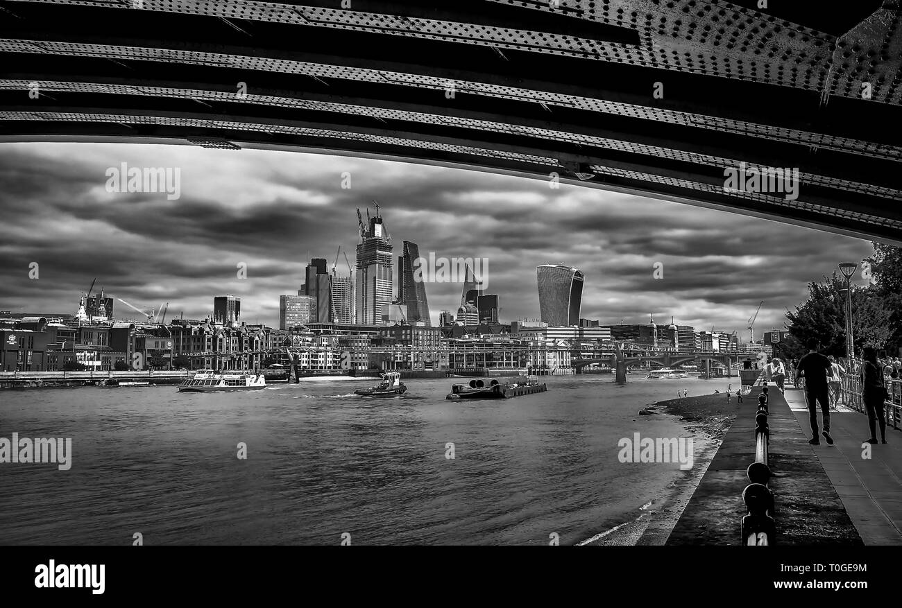 London, England, Aug 2018, view from the City of London corporation from under Blackfriars Bridge on the South Bank of the river Thames - Stock Image