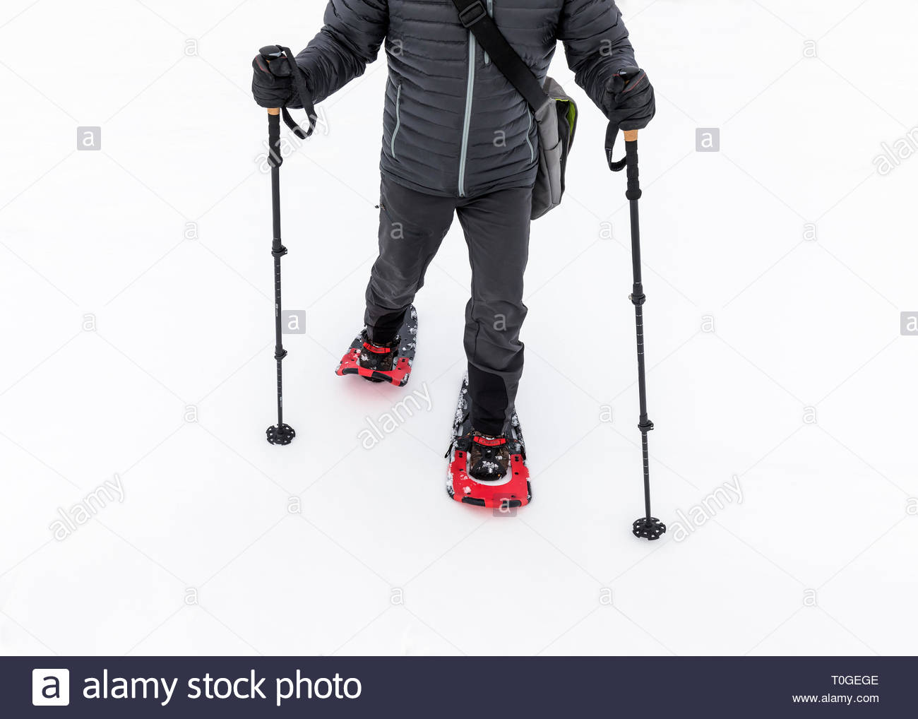Snowshoeing, close up view - Stock Image