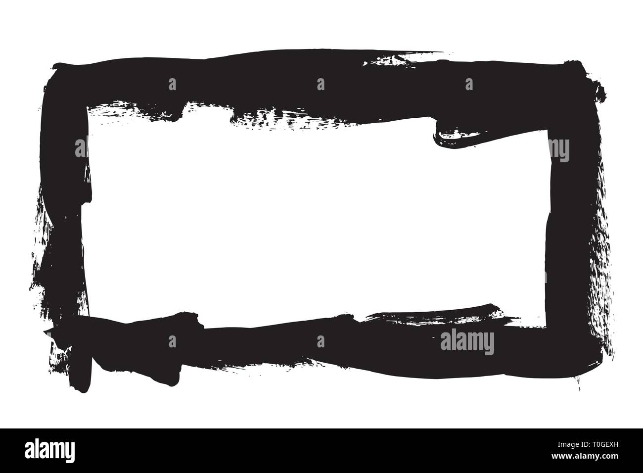 Grunge hand drawn paint brush stripe. Vector black ink brush stroke. Paint background high detail. Dirty design element, box, frame for text. Curved o - Stock Image