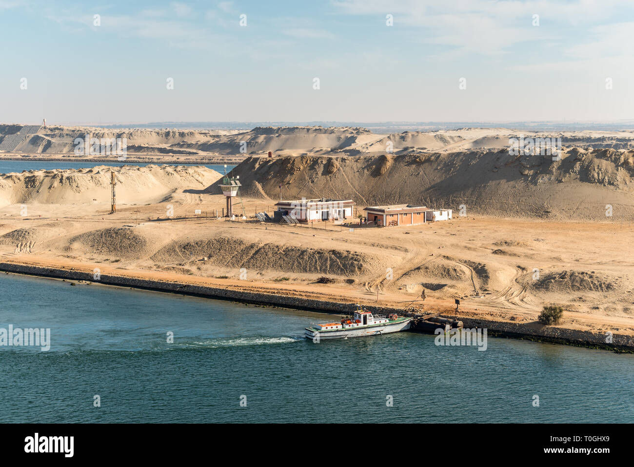 Al Firdan, Egypt - November 5, 2017: Military watch tower and built on the island in the middle of the Suez Canal near Ismailia, Egypt, Africa. - Stock Image