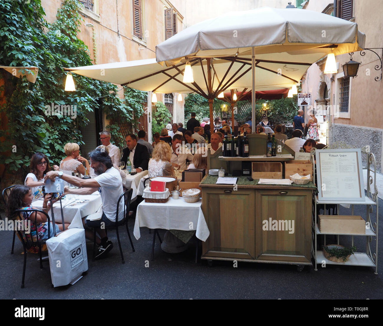 Europe, Italy, Veneto, Verona, typical restaurant in the historic center - Stock Image