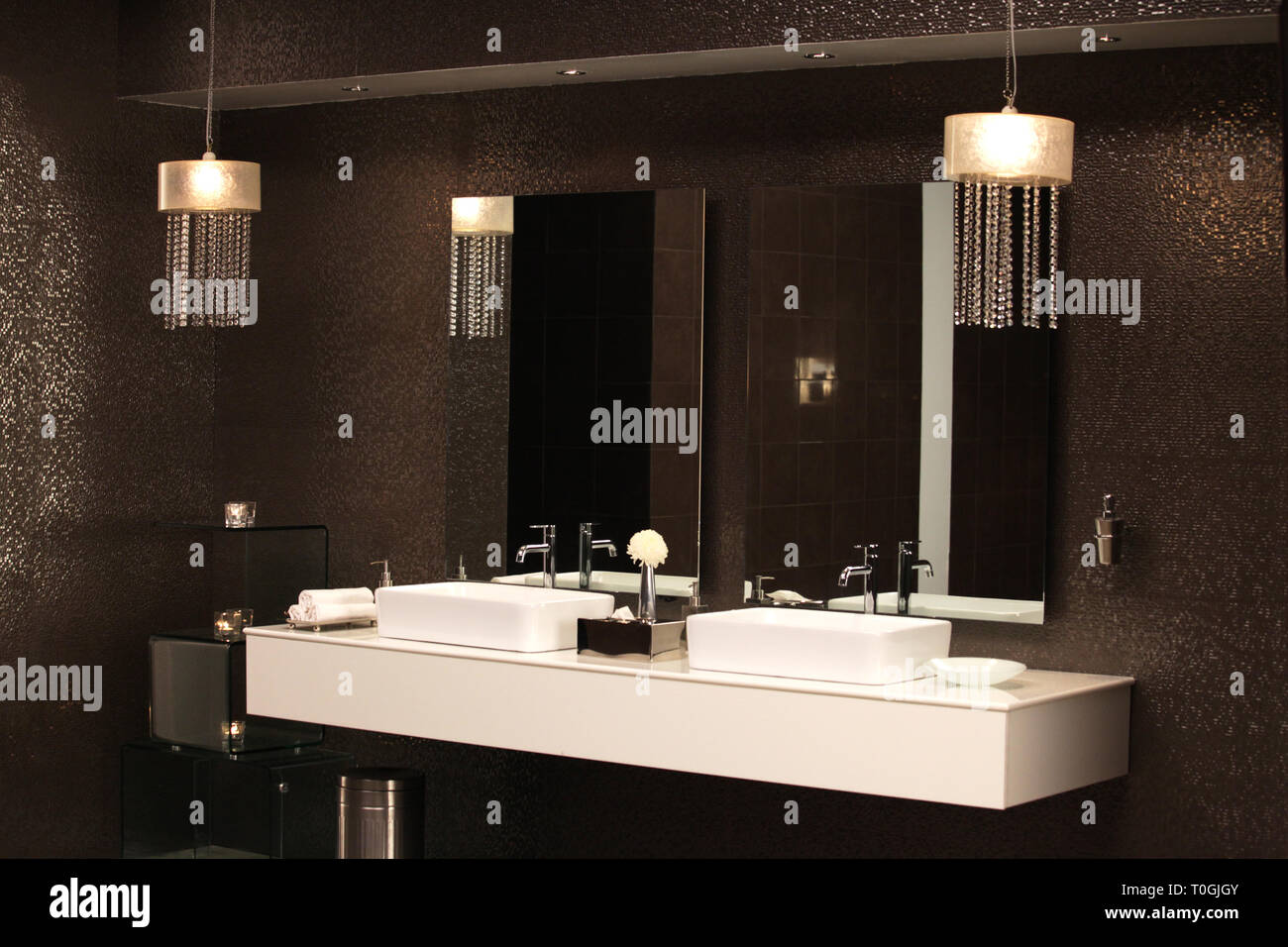A White Bathroom Counter Stand Out From Luxury Glod Glitter Wall In Bathroom Setup In Studio Stock Photo Alamy
