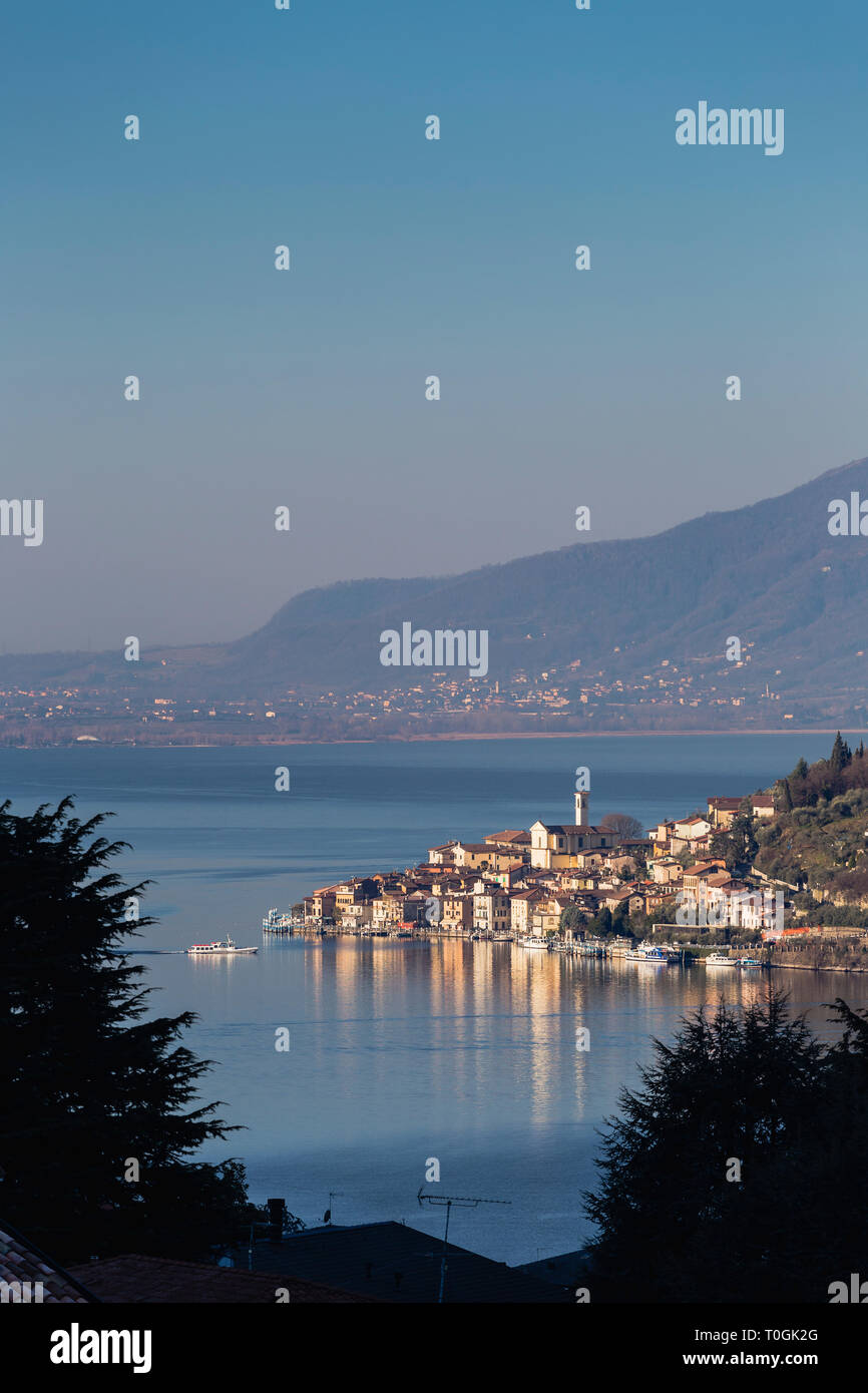 Town of Peschiera Maraglio on Monte Isola, Lake Iseo, Lombardy, Italy - Stock Image