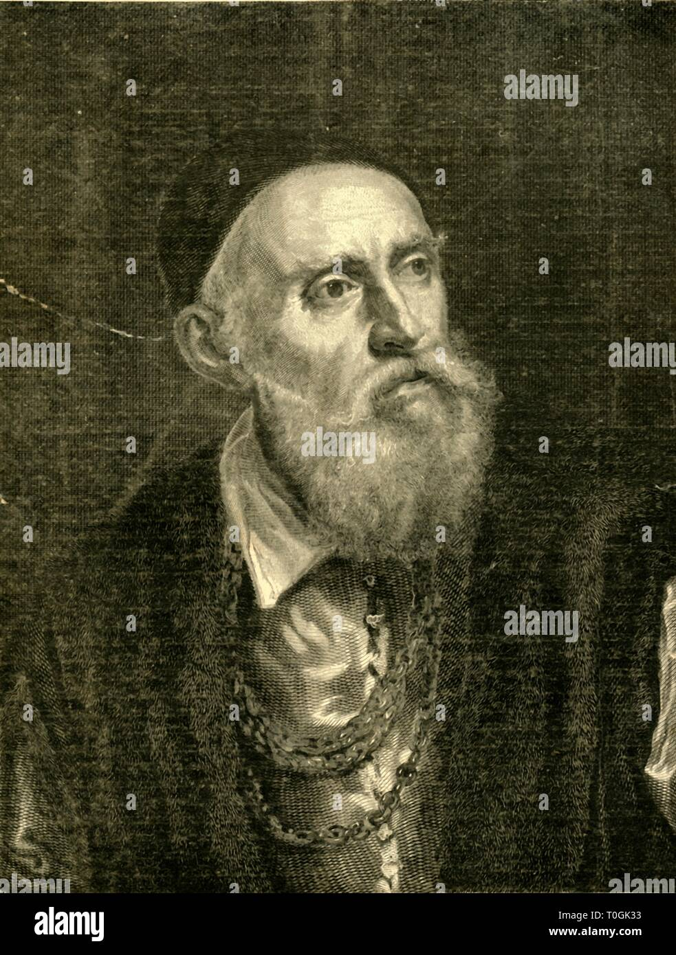 """'Titian's Portrait of Himself', 1882. Tiziano Vecelli or Tiziano Vecellio (c.1488/90-1576),[2] known in English as Titian, was an Italian painter, the most important member of the 16th-century Venetian school. From """"St. Nicholas: Volume IX. Part I., November 1881, to May 1882"""". [Scribner & Co., New York, 1882] - Stock Image"""