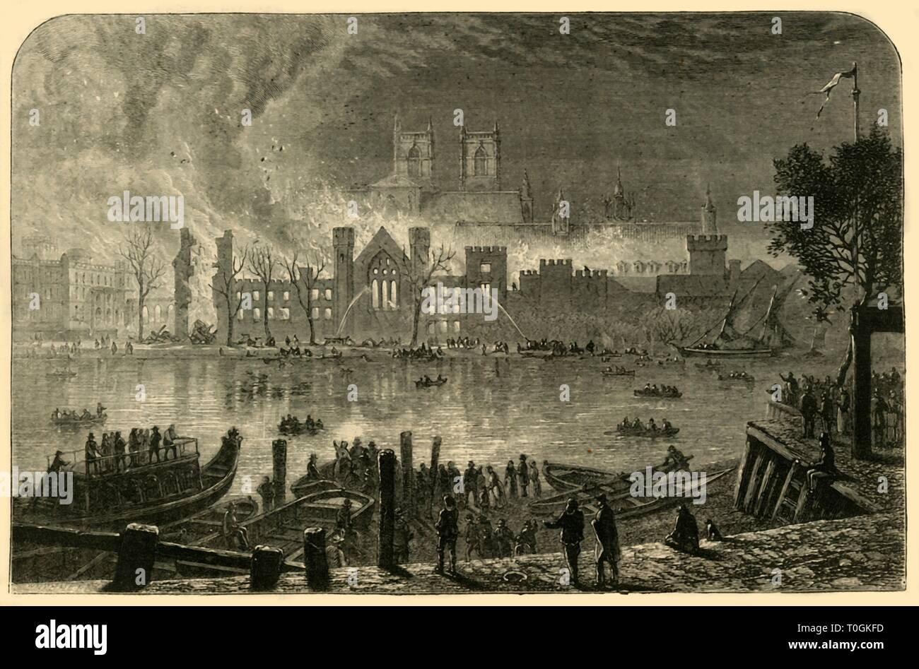 """'Destruction of the Old Houses of Parliament, October 16, 1834', (1881). From """"The Leisure Hour 1881"""", by . [The Religious Tract Society, London, 1881] - Stock Image"""