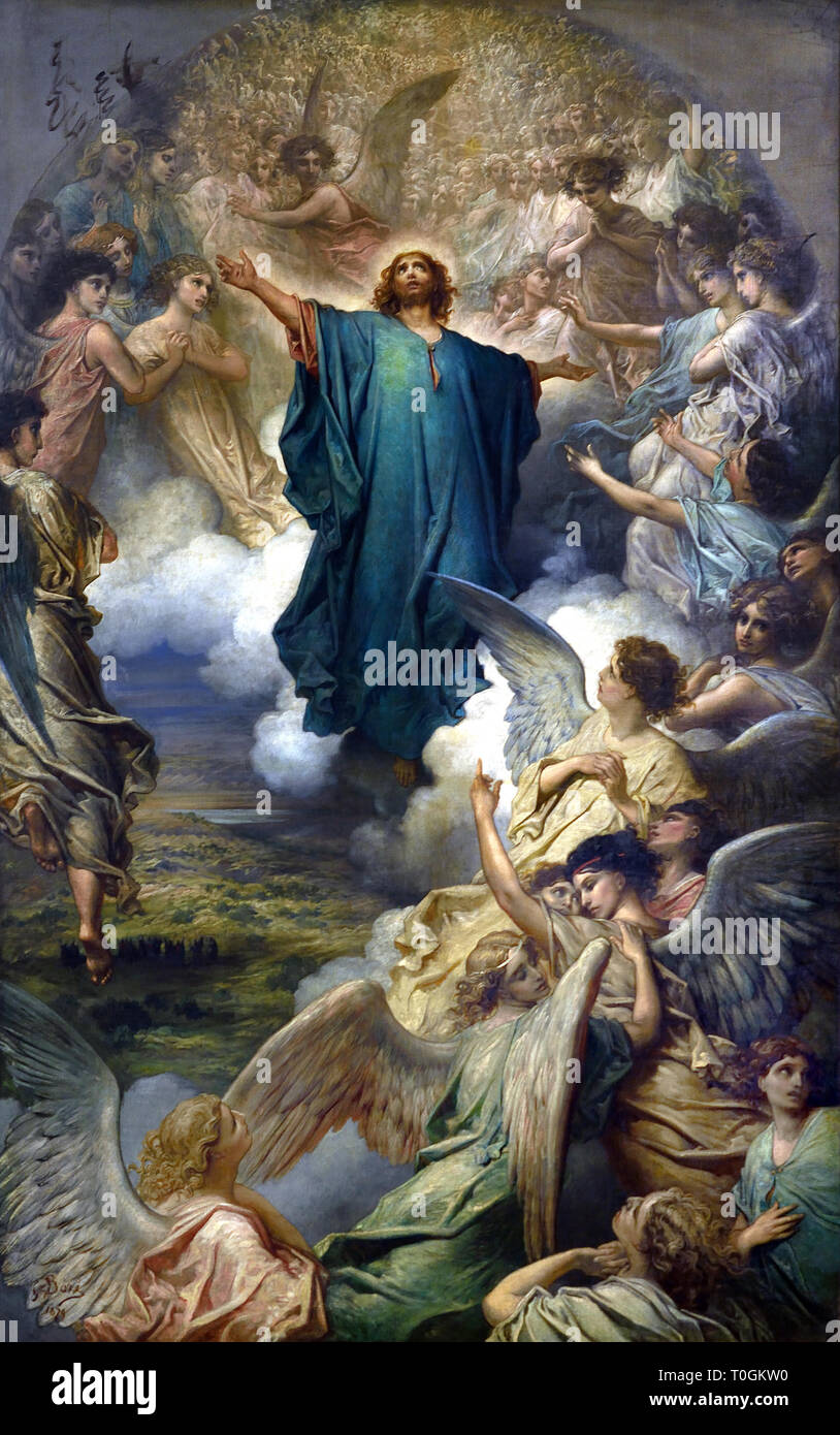 The Ascension 1897 Gustave Doré 1832 - 1883 French, France. ( The Ascension of Christ concludes Jesus' work on earth with his entry into the celestial sphere after his crucifixion and resurrection. ) - Stock Image