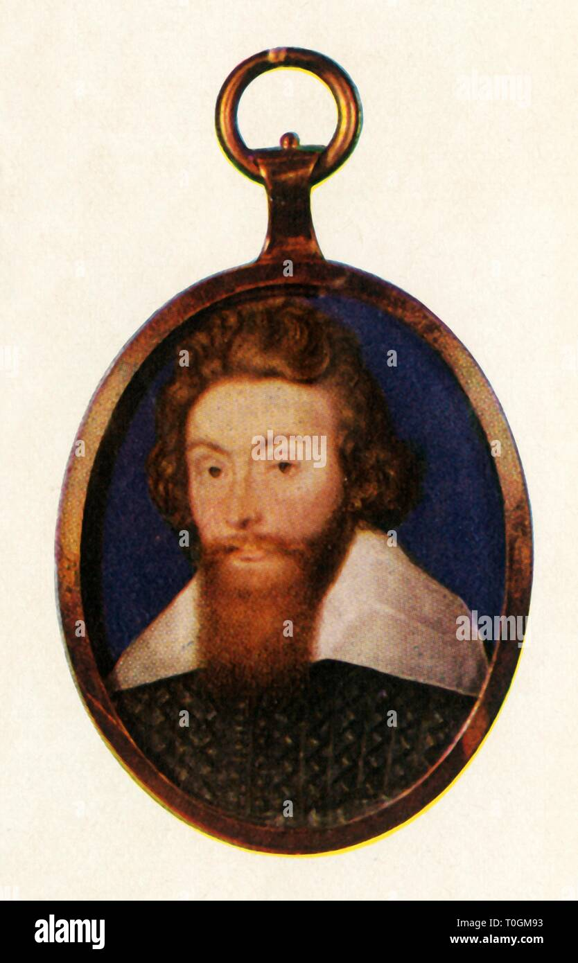 """Sir Richard Leveson, c1600, (1947). Portrait of English navy officer, politician and landowner Sir Richard Leveson (c1570-1605). Leveson was knighted for his successes during the Cadiz expedition in 1596, and was appointed Vice-Admiral of England by James I in 1604, the year before he died. After a miniature painted c1597-1600 by Isaac Oliver, in the Wallace Collection, London. From """"The Saturday Book"""", Seventh Year, edited by Leonard Russell. [Hutchinson, St. Albans, 1947] - Stock Image"""