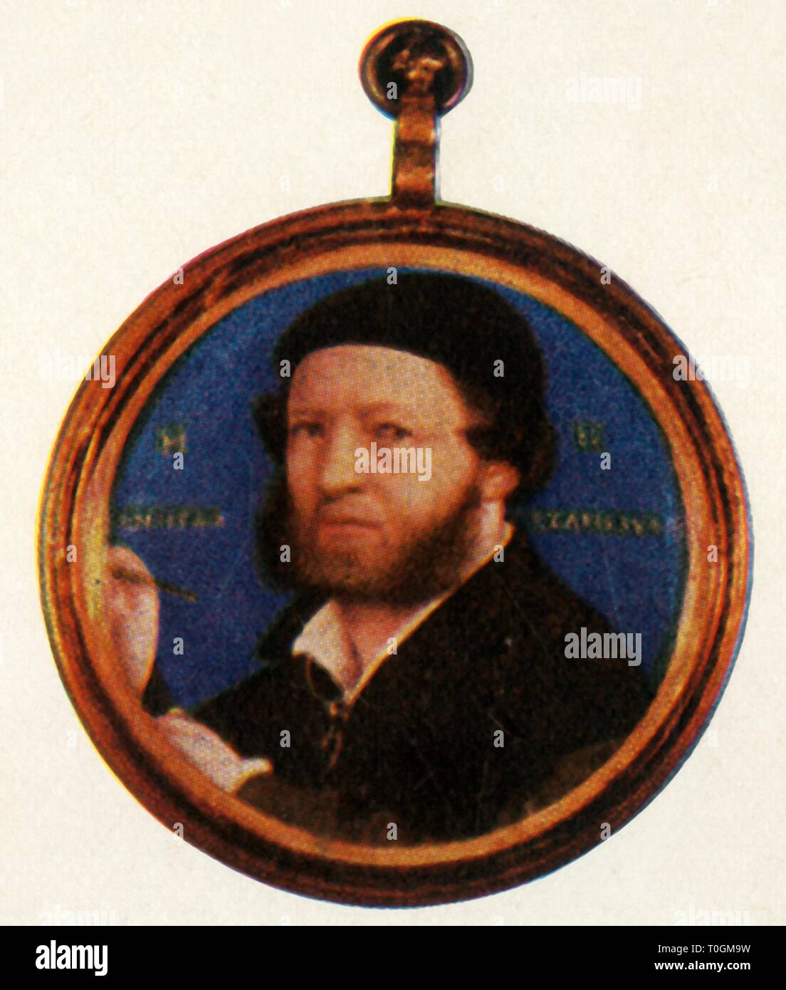 """Hans Holbein, mid-late 16th century, (1947).Portrait of German artist Hans Holbein the Younger (1497-1543), court painter to King Henry VIII of England. After a miniature previously thought to have been a self portrait by Holbein, but now believed to be by an unknown artist, in the Wallace Collection, London. From """"The Saturday Book"""", Seventh Year, edited by Leonard Russell. [Hutchinson, St. Albans, 1947] - Stock Image"""