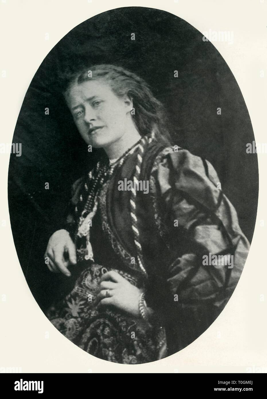 """Ellen Terry, c1863, (1948). Portrait of British actress Dame Ellen Terry (1847-1928). Terry was the leading Shakespearean actress of her time. Aged 16 she married the 46-year-old artist George Frederic Watts, but they separated within a year. She is pictured here 'when Mrs. G. F. Watts'. From """"The Saturday Book"""", Eighth Year, edited by Leonard Russell. [Hutchinson, London, 1948] - Stock Image"""