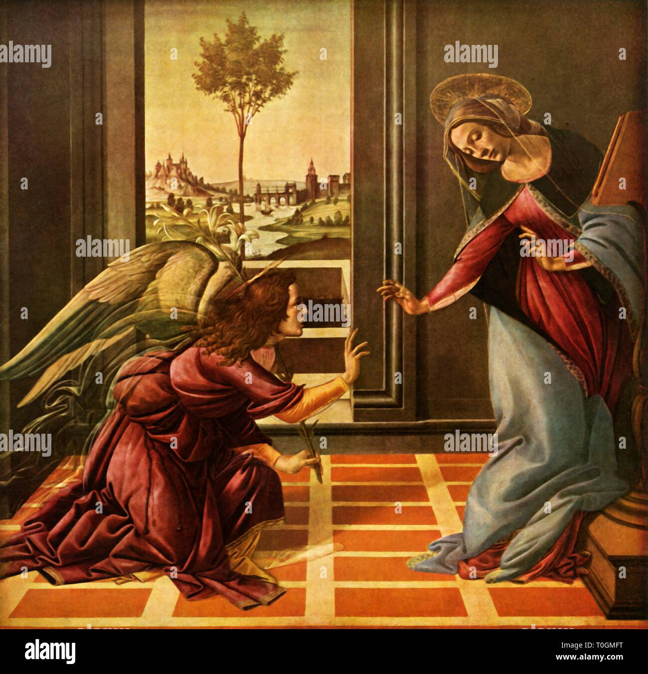 """'The Cestello Annunciation', 1489, (1937). The angel Gabriel, holding a stem of lilies, brings the Virgin Mary the news that God has chosen her to bear the Christ child. Painting in the Uffizi Gallery, Florence. From """"Sandro Botticelli"""" by Lionello Venturi. [George Allen & Unwin Ltd, London, 1937] - Stock Image"""