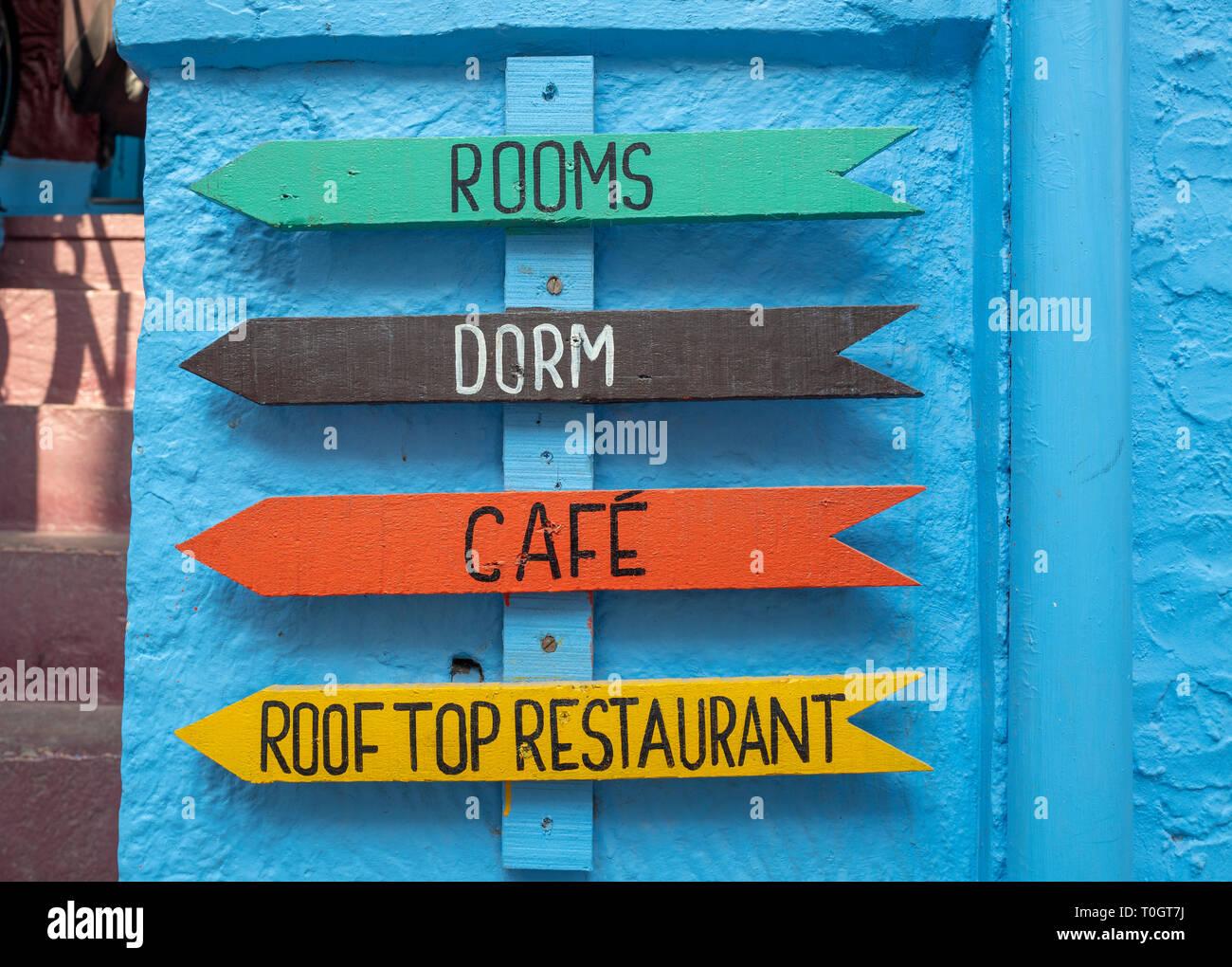 Hostel Dorm Available Rooms Signage in Jodhpur, India Stock Photo