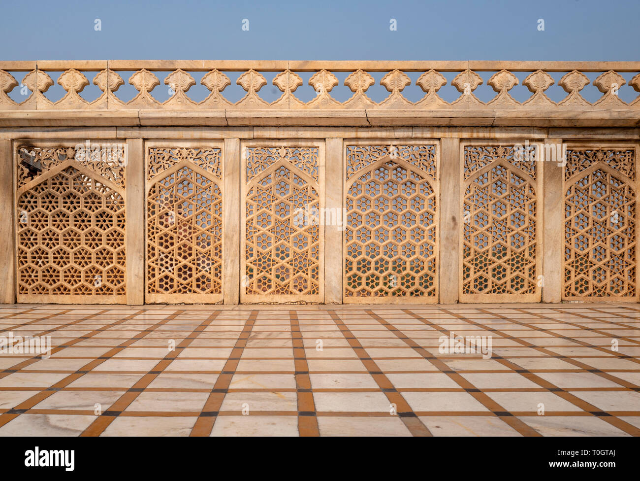 Details of Agra's Red Fort in India Stock Photo