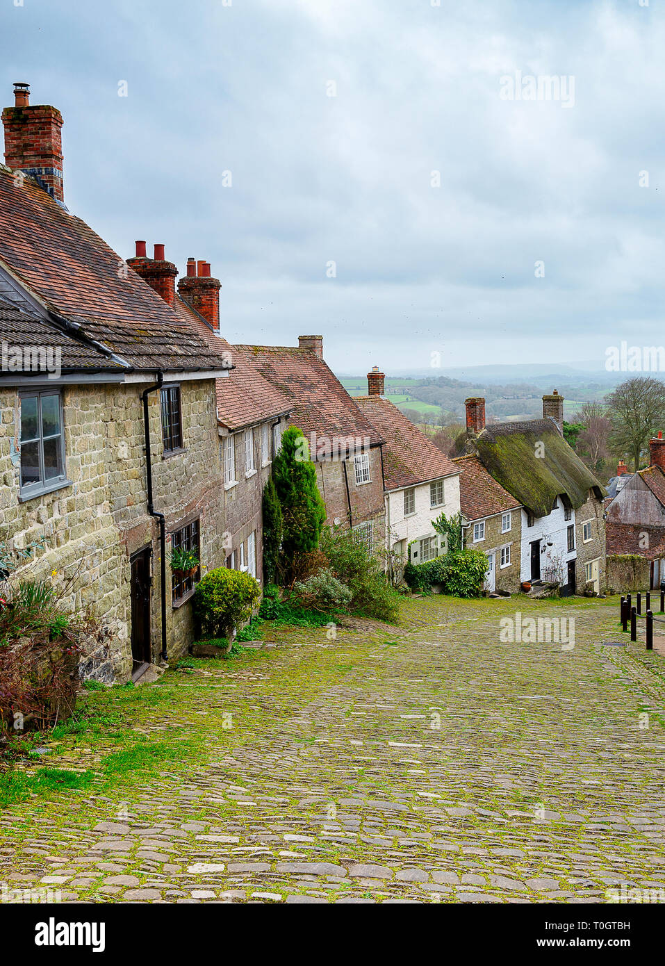 Gold Hill in Shaftsbury Dorset England - Stock Image