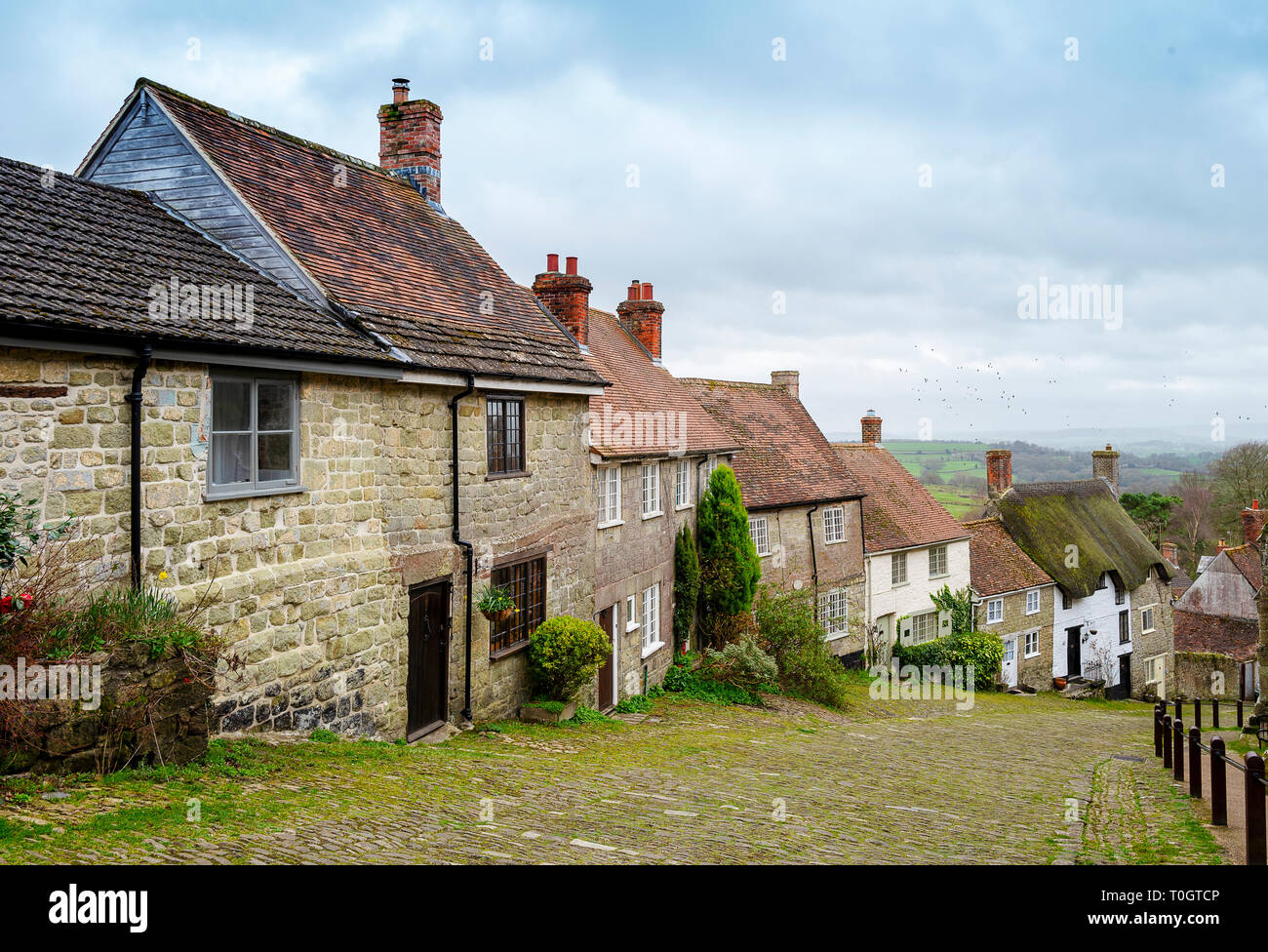 Gold Hill in Shaftesbury, Dorset England - Stock Image