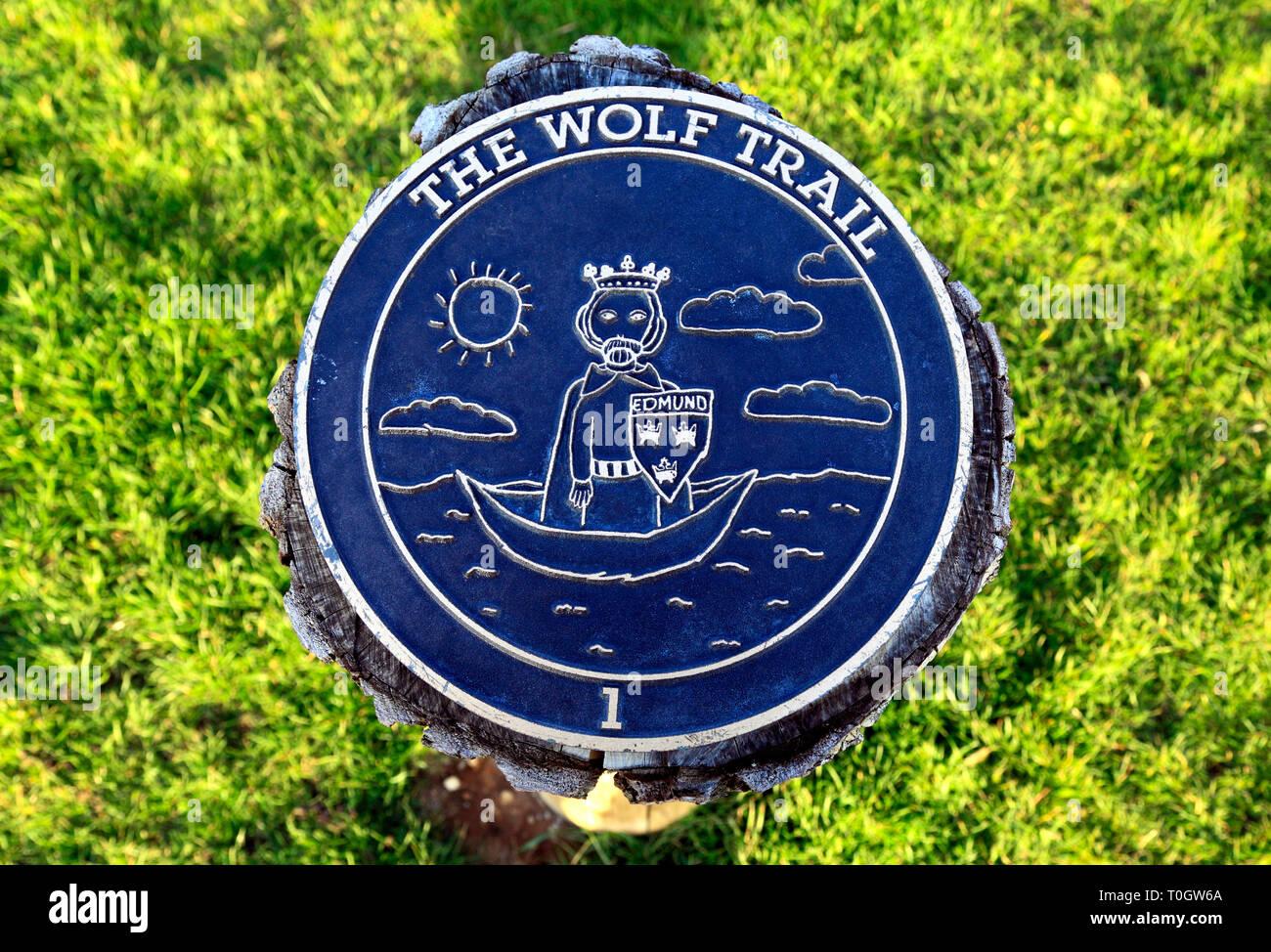 St. Edmund, The Wolf Trail, Esplanade Gardens, Hunstanton, Norfolk, UK, commemorative, plaque - Stock Image
