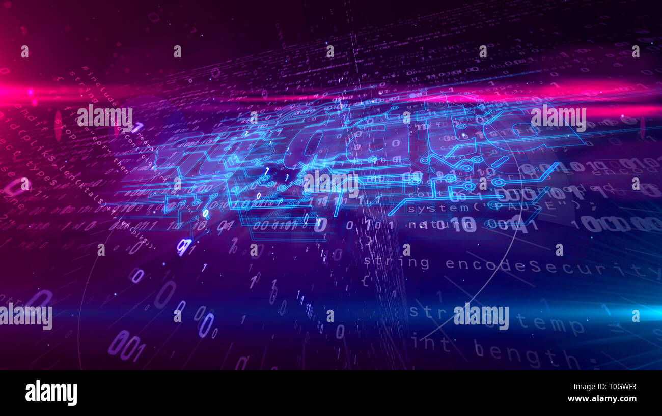 Big data analytics and digital computing 3D illustration. Technology abstract concept on binary background. - Stock Image