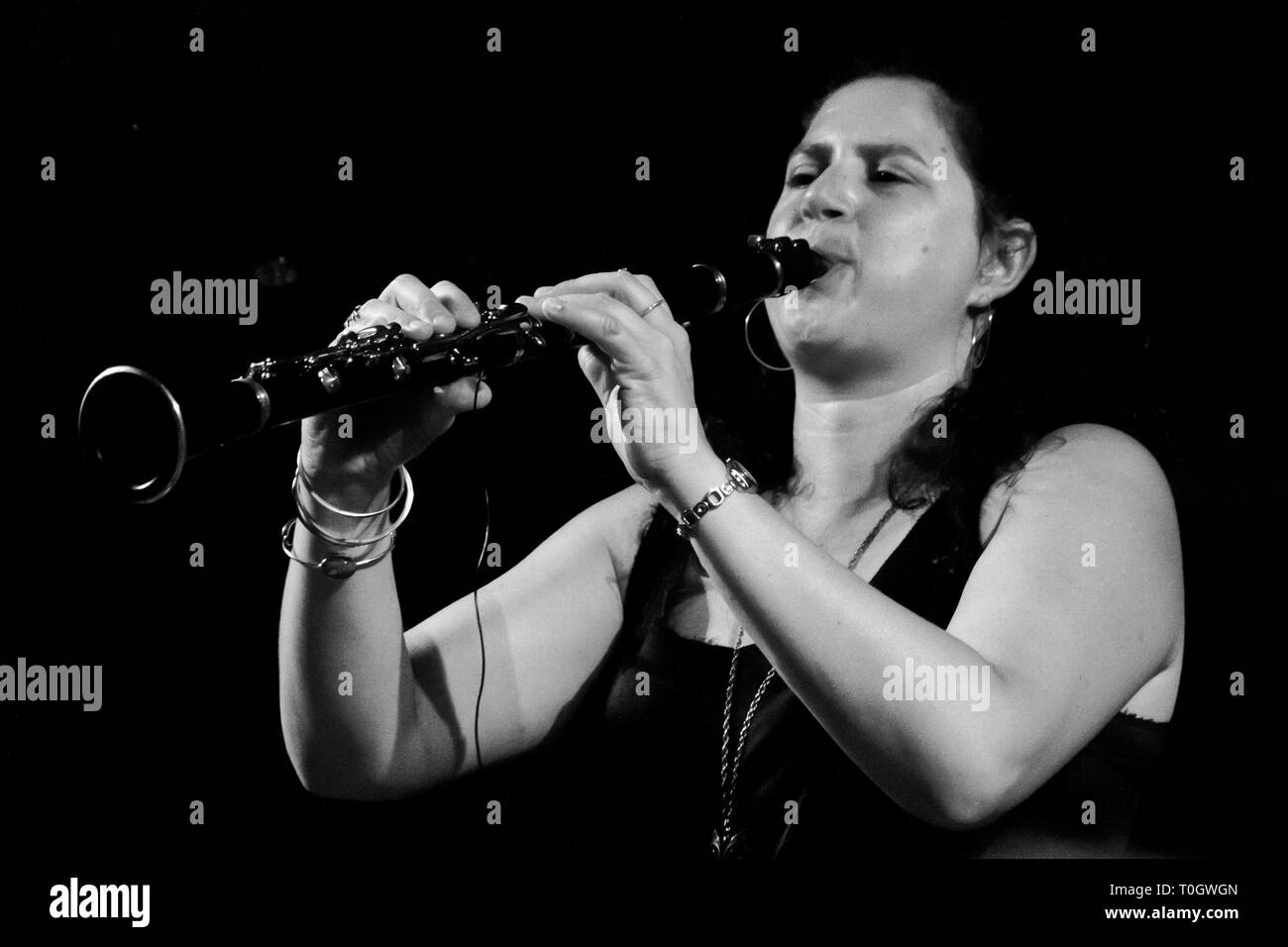 PERUGIA, ITALY - JULY 15, 2011 - Anat Cohen playing clarinet on main stage at Umbria Jazz Festival - July 15, 2011 in Perugia, Italy - Stock Image