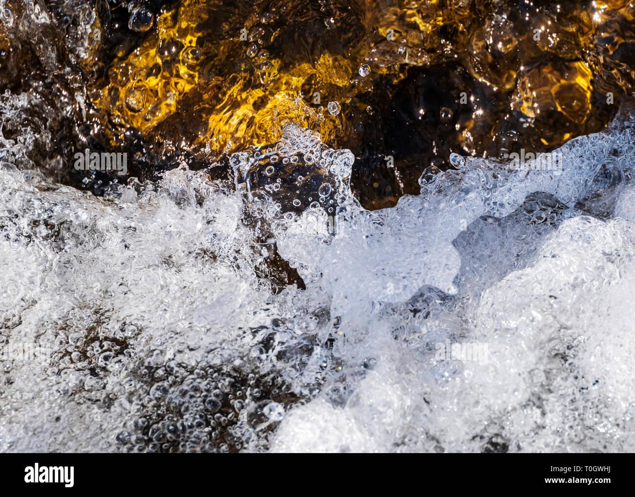 Close-up of bubbling rapids; the South Arkansas River; near small mountain town of Salida, Colorado, USA Stock Photo