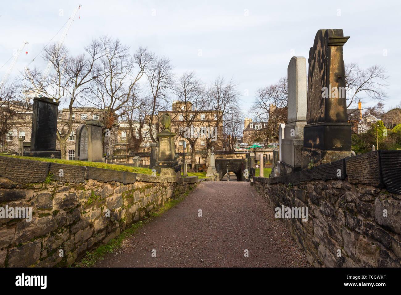 Edimburgh (Scotland) - The Old Calton Burial Ground, graveyard at Calton Hill Stock Photo