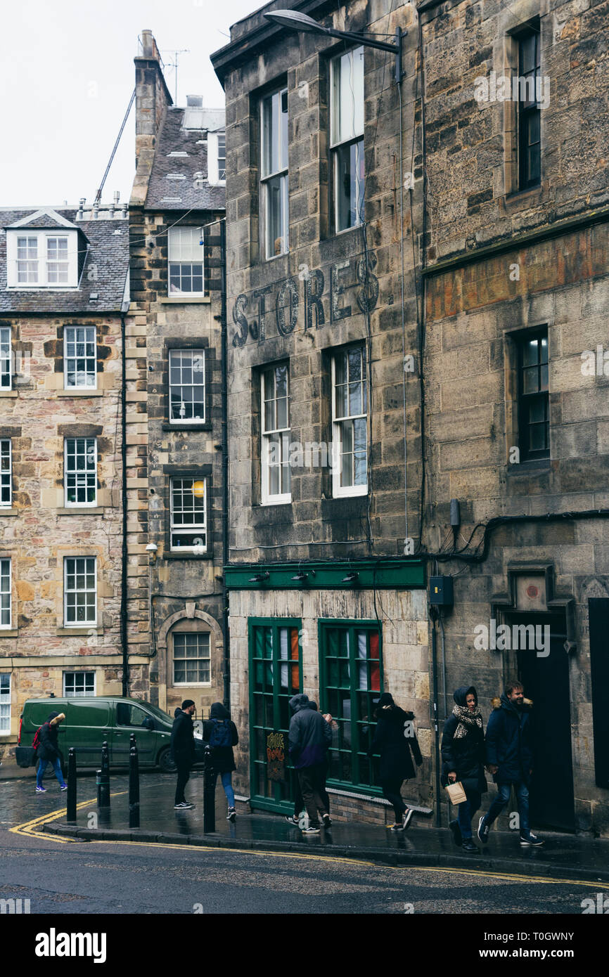 EDINBURGH, SCOTLAND - FEBRUARY 9, 2019 -  Candlemaker Row, a little street right next to the National Museum of Scotland and Greyfriars Bobby Stock Photo
