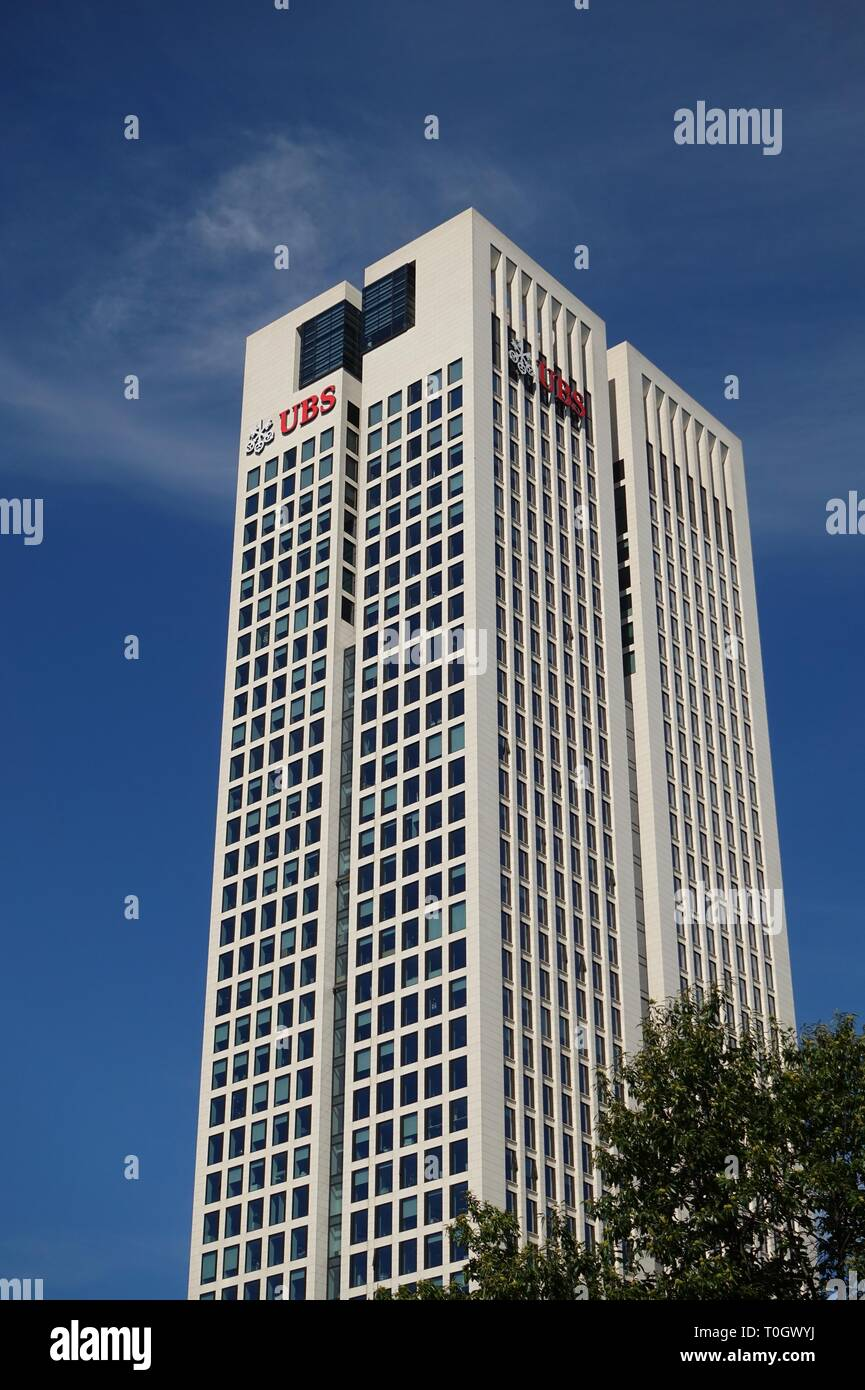 FRANKFURT AM MAIN, GERMANY -8 SEP 2018- View of the OpernTurm (Opera Tower) headquarters building for Swiss bank UBS located in Frankfurt. - Stock Image