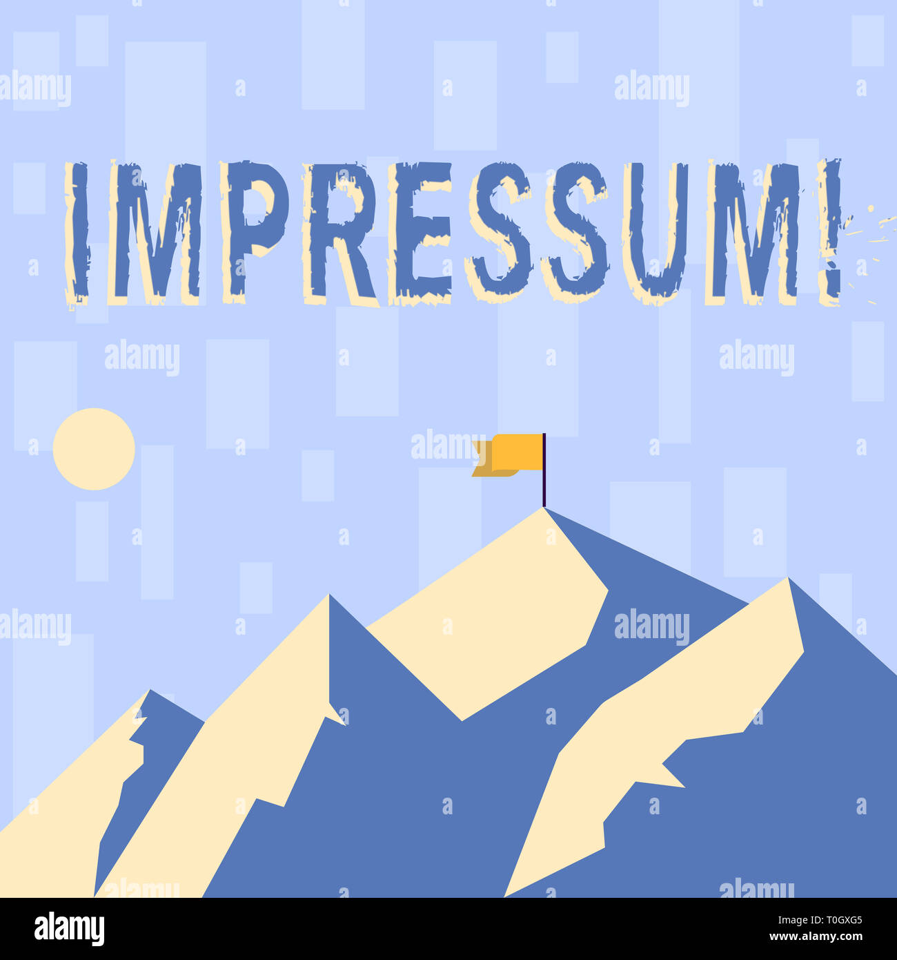 Writing note showing Impressum. Business concept for Impressed Engraved Imprint Geranalysis statement ownership authorship Mountains with Shadow Indic - Stock Image